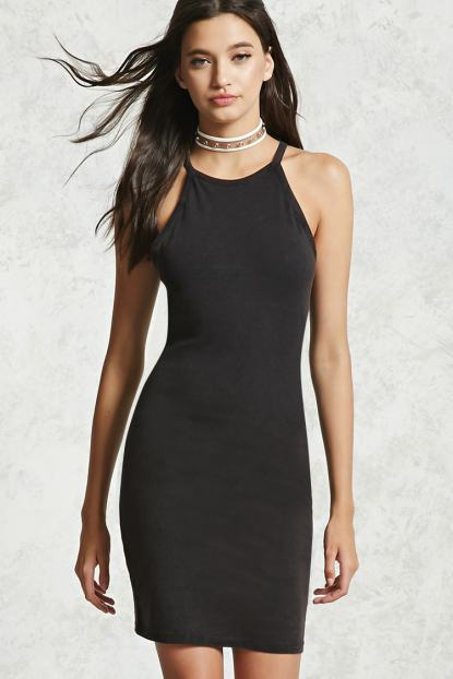 black high collar dress
