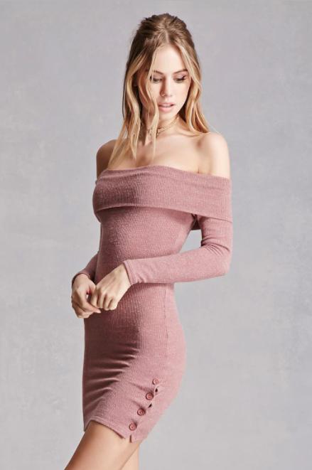 Off-the-Shoulder Button Dress