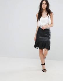 Vila Fringe Faux Leather Skirt, $34.00