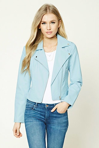 Faux Leather Moto Jacket, $37.90