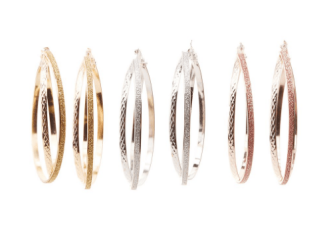 Embellished Hoop Earrings - 3 Pack, $4.79