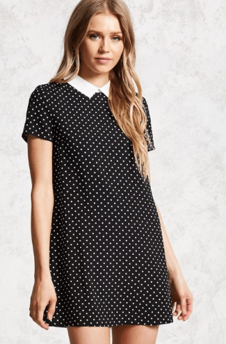 Polka Dot Print Shift Dress, $17.90