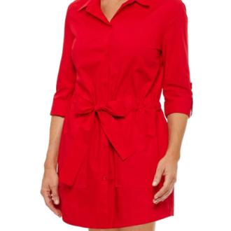 Sag Harbor Elbow Sleeve Shirt Dress, $29.99