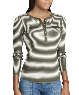 Women's Chaps Striped Henley Top, $19.60