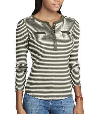 Women's Chaps Striped Henley Top, $19.60