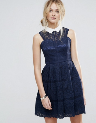 Chi Chi London Structured Lace Skater Dress With Contrast Collar, $81