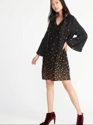 Satin Tie-Neck Shift Dress for Women, $15