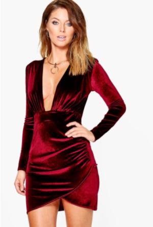 Val Velvet Plunge Neck Wrap Bodycon Dress, $27