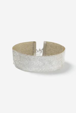 Wide Glam Rhinestone Choker Necklace, $14