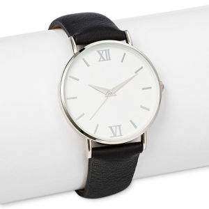 Women's Strap Watch with White Dial Black, $16.99