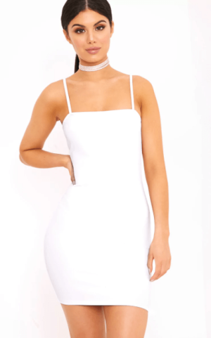 Desri White Straight Neck Bodycon Dress, $18