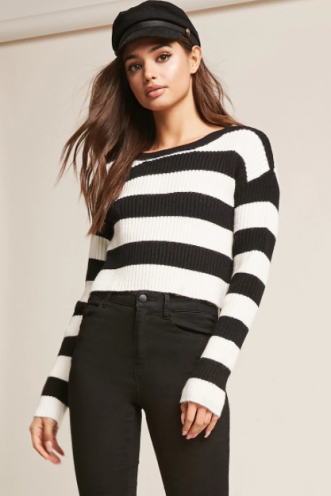 Ribbed Striped Sweater, $33.60