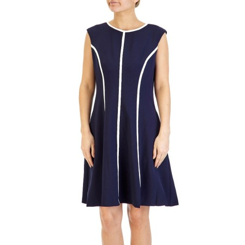 Navy Blue Sleeveless Crepe Dress with White Contrast Stripes, $29.99