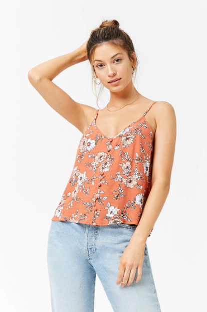 Floral Button-Front Cami Top, $12.90