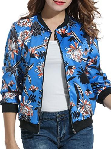 Floral Printer Short Bomber Jacket, $33.99