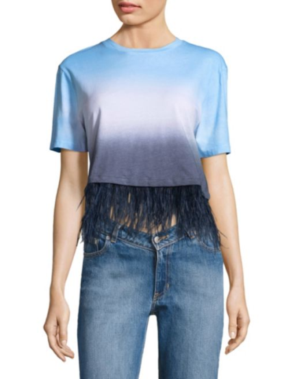 Cropped Dip-Dye Feather Cotton Tee, $59.99
