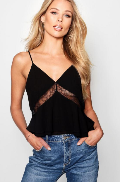 Lace Detail Woven Cami Top, $16.80