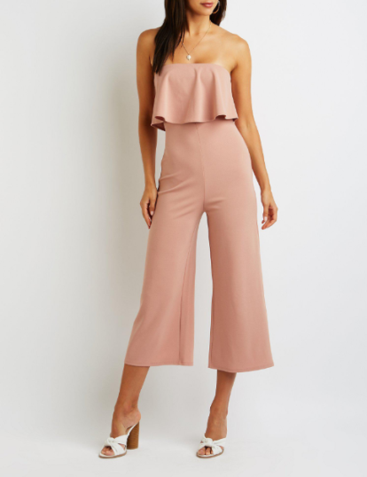 Ruffle Strapless Crop Jumpsuit, $29.99