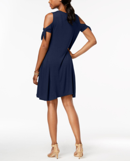 Petite Cold-Shoulder Tie-Sleeve Dress, $37.62