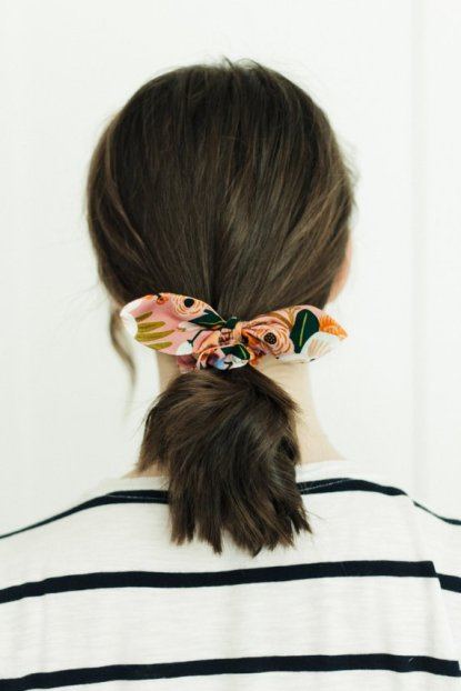 Floral Scrunchie with Bow, $10