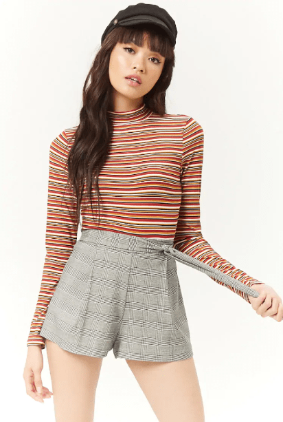 Multicolor Striped Mock Neck Top, $12.90