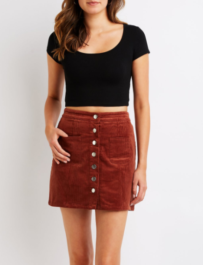 Button Up Corduroy Mini Skirt, $24.99
