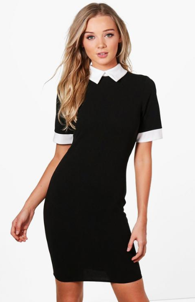 Contrast Collar & Cuff Dress, $30