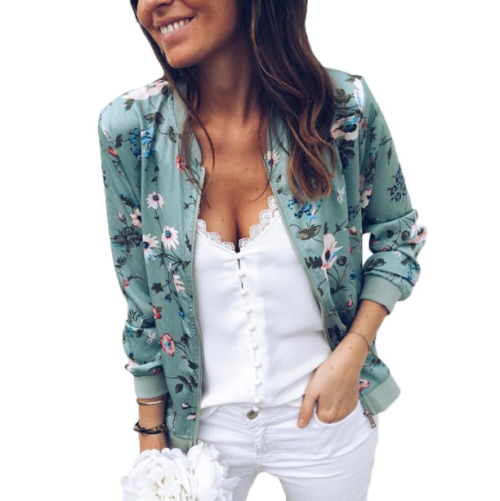 Casual Floral Zip Up Bomber Jacket, $18.99