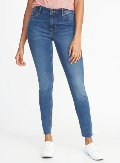 Mid-Rise Raw-Edge Rockstar Ankle Jeans for Women, $35