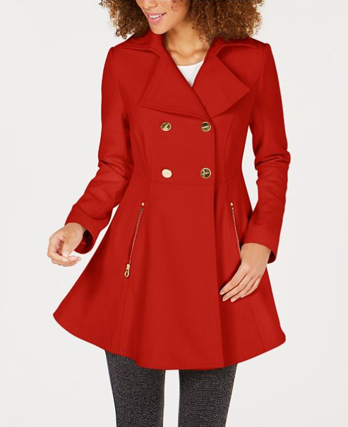 Double-Breasted Skirted Peacoat, $115.49