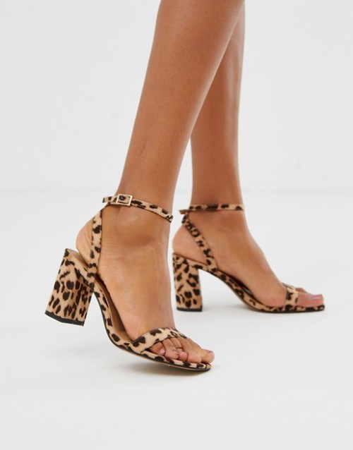 Hong Kong Barely There Block Heeled Sandals in Leopard, $40