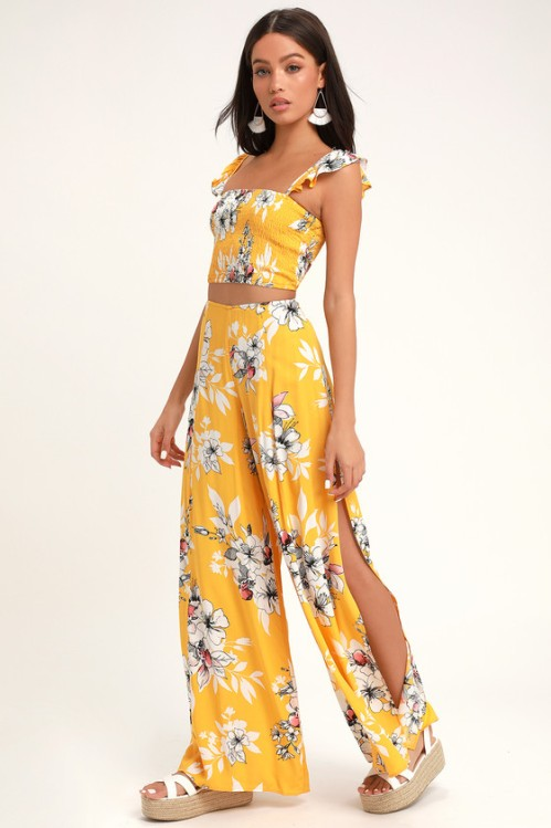 Yellow Floral Print Two-Piece Jumpsuit, $40