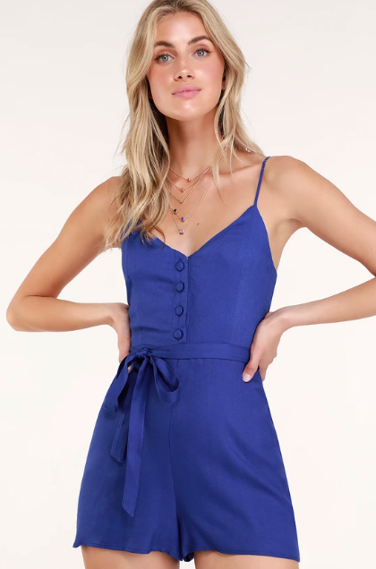 In the Know Royal Blue Romper, $24