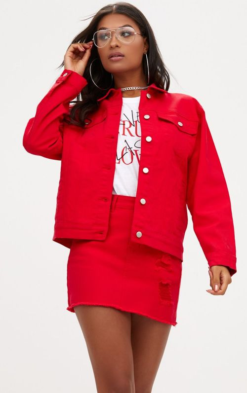 Red Distressed Boyfriend Fit Denim Jacket, $28