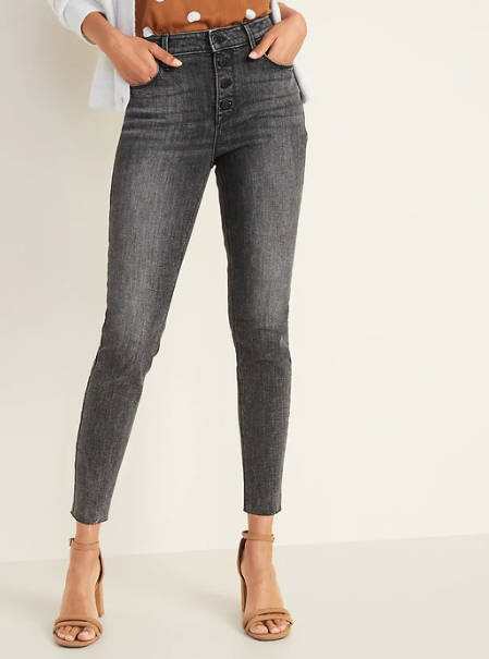 High-Waisted Button-Fly Rockstar Super Skinny Ankle Jeans For Women, $40